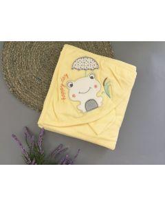 Махровий рушник після купання з капюшоном, жовтий (жабка), Bebessi 3619