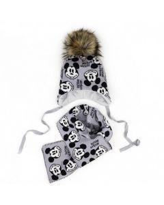 """Теплий набір """"Mickey Mouse"""" для дитини (шапочка і шарф), світло-сірий, Talvi 01909"""
