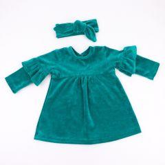 Велюрове плаття із солохою (смарагдове) , Coolton