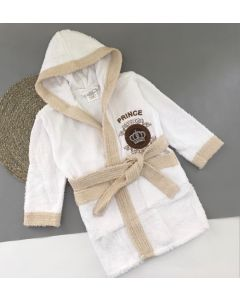 Махровий халат для дитини (білий з бежевим), 355 Vevien
