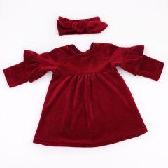 Велюрове плаття із солохою (бордове) , Coolton