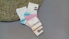 Набір шкарпеток для дитини (2 шт.) (білі з рожевим), котик, Defne 10555