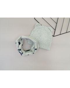 Набір (шапочка і хомут) для дитини, світло-сірий менанж, Talvi 01237