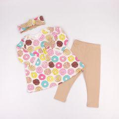 Трикотажний комплект-трійка для дівчинки, Coolton (пончики)