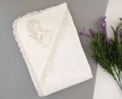 Трикотажне крижмо для Хрещення малюка (ангелик), 14ВЛ004