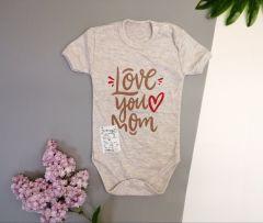 Боді для дитини (Love you mom) (бежевий меланж), Мамине чадо 51-21
