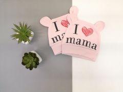 Шапочка для дитини 1 шт. (I love mom ) рожева, Мамине чадо 21-45-1