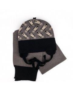 """Набір трикотажний """"Спейс"""" для дитини (шапочка і шалик), коричневий з чорним, Talvi 01759"""