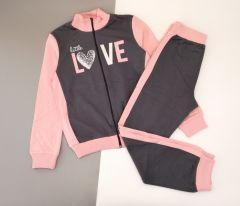 Трикотажний костюм для дівчинки (темно-сірий з рожевим) КС-338