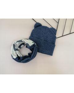 Набір (шапочка і хомут) для дитини, темно-cиній меланж, Talvi 01237
