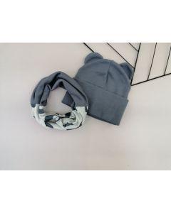Набір (шапочка і хомут) для дитини, темно-сірий, Talvi 01237