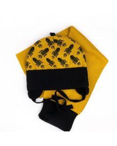 """Набір трикотажний """"Спейс"""" для дитини (шапочка і шалик), жовтий з чорним, Talvi 01759"""