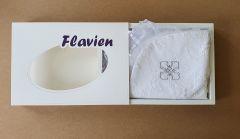 Котонова крижма для Хрещення малюка (з срібним хрестом), Flavien 3002-1