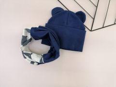 Набір (шапочка і хомут) для дитини, темно-синій, Talvi 01237