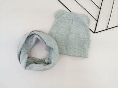 """Набір """"Ліам"""" для дитини (шапочка і хомут), сірий, Talvi 00948"""