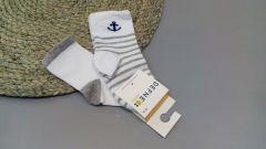 Набір шкарпеток для дитини (2 шт.) (білі з сірим), якір, Defne 10555
