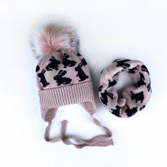 Набір для дитини (шапочка і хомут), рожевий з чорним, Talvi 01457
