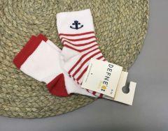 Набір шкарпеток для дитини (2 шт.) (білі з червоним), якір, Defne 10555