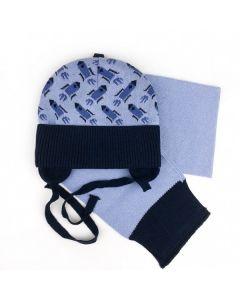 """Набір трикотажний """"Спейс"""" для дитини (шапочка і шалик), голуба з темно-синім, Talvi 01759"""