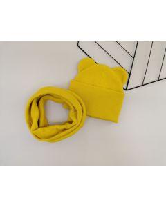 """Набір """"Ліам"""" для дитини (шапочка і хомут), жовтий, Talvi 00948"""