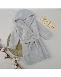 Плюшевий халат з капюшоном для дитини (сірий), Lotex 286/21