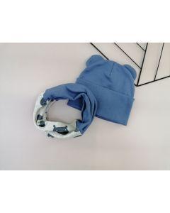 Набір (шапочка і хомут) для дитини, cиній, Talvi 01237