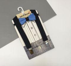 Набір аксесуарів для хлопчика - метелик і підтяжки (чорні з голубим), Neki 1020