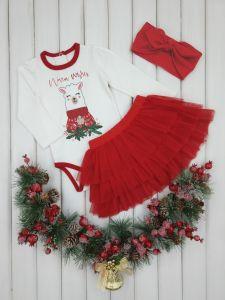 Новорічний трикотажний комплект-трійка для дівчинки, червоний 112982-13
