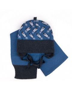 """Набір трикотажний """"Спейс"""" для дитини (шапочка і шалик), синя з сірим, Talvi 01759"""