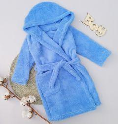 Плюшевий халат з капюшоном для дитини (голубий), Lotex 286/21