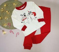 Новорічна трикотажна піжама для дитини (котики), ПЖ-216