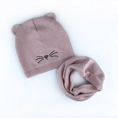 Набір (шапочка і хомут) для дитини, бежева пудра, Talvi 01567
