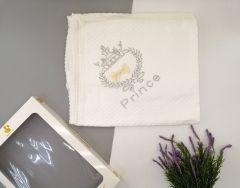 В'язане плед-крижмо для дитини Prince (біле), Minilori Baby 476