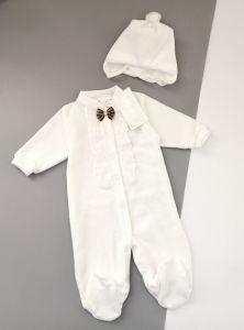 Святковий велюровий комплект для хлопчика (молочний), Little Angel 302
