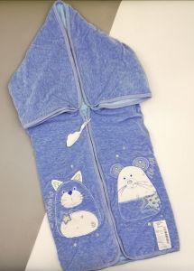 Велюрова конверт-ковдра (голуба), 14ВЛ003