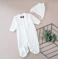 Святковий велюровий комплект для хлопчика (білий), Little Angel 11321