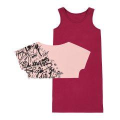 Трикотажний комплект для дівчинки (рожевий з бордовим), К15СК100