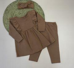 Трикотажний комплект для дівчинки (коричневий), Little Angel 113