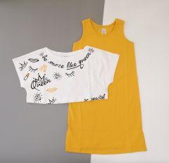 Трикотажний комплект для дівчинки (жовтий з білим), К15СК100