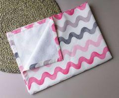 Пеленка непромокаюча, рожеві з сірим (хвилі)  10885