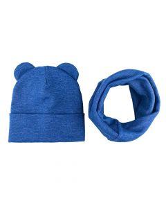 """Набір """"Міша"""" для дитини (шапочка і хомут), синій меланж, Talvi 01102"""