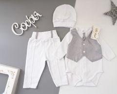 Святковий комплект для хлопчика (білий), Little Angel 10983
