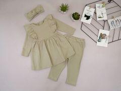 Трикотажний комплект для дівчинки (сіро-бежевий), Little Angel 113