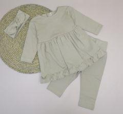 Трикотажний комплект з легким начосом для дівчинки (бежевий), Little Angel 1148