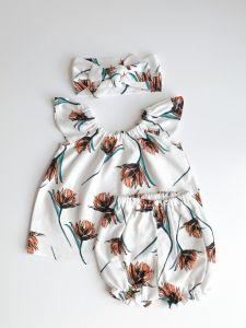 Льняной комплект для девочки (белый), Little Angel 1142
