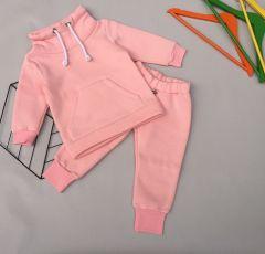 Трикотажний комплект з флісовою байкою для дівчинки (світло-рожевий), КЗТФ144