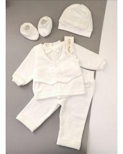Святковий велюровий комплект для хлопчика(молочний), Little Angel 10974/292