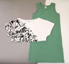 Трикотажний комплект для дівчинки (зелений з білим), К15СК100