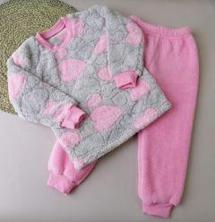 Плюшева піжама для дівчинки (роожева з сірим), Lotex 2452-21