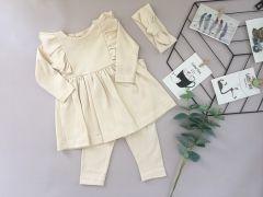 Трикотажний комплект з мікроначосом для дівчинки (молочний), Little Angel 113